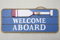 Welcome Aboard tavla 13x30 cm